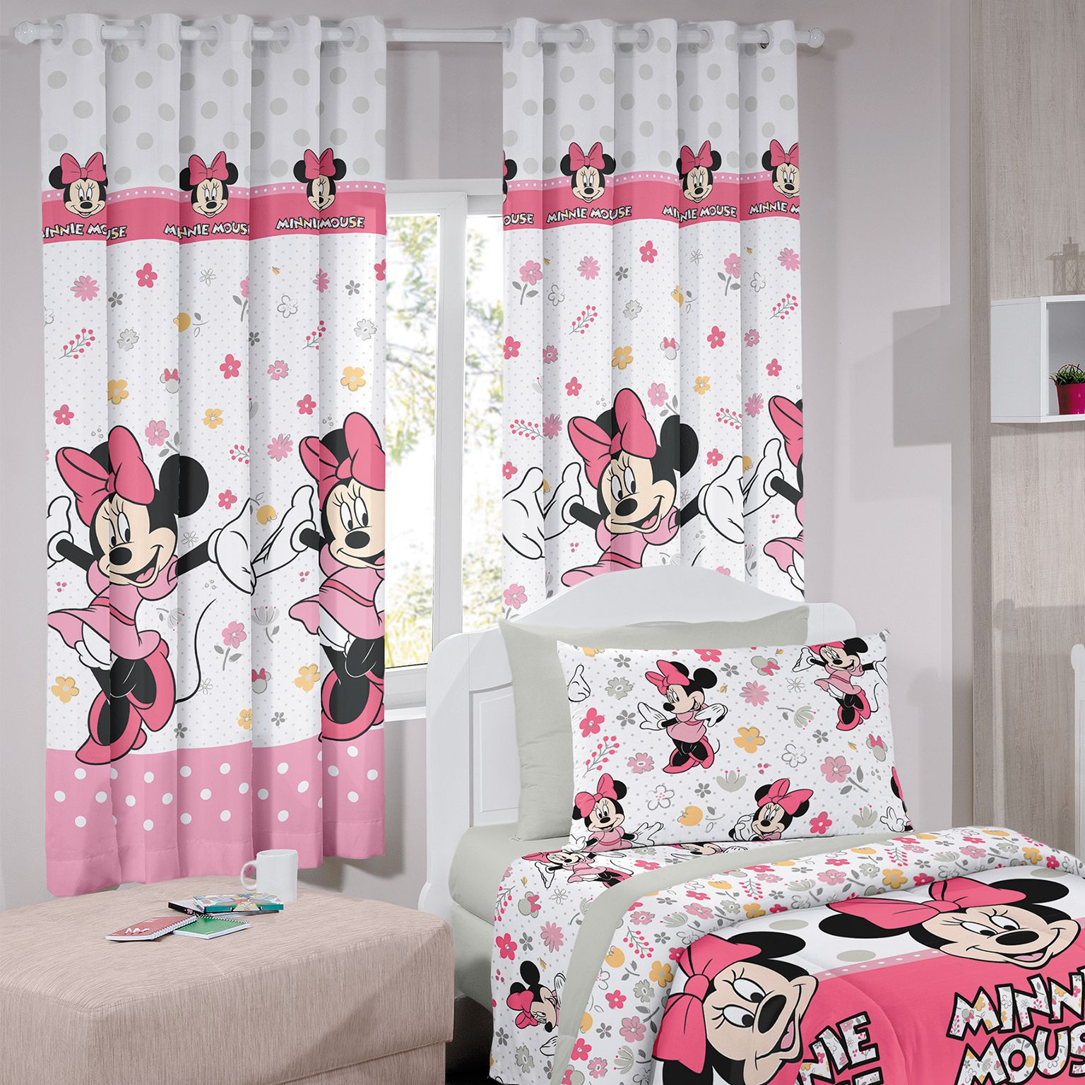 Cortina Corta Luz Curta Disney Minnie Happy Estampada